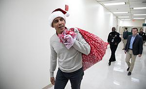 """早安·世界 奥巴马变""""白胡老爹"""",为小病人送圣诞祝福"""