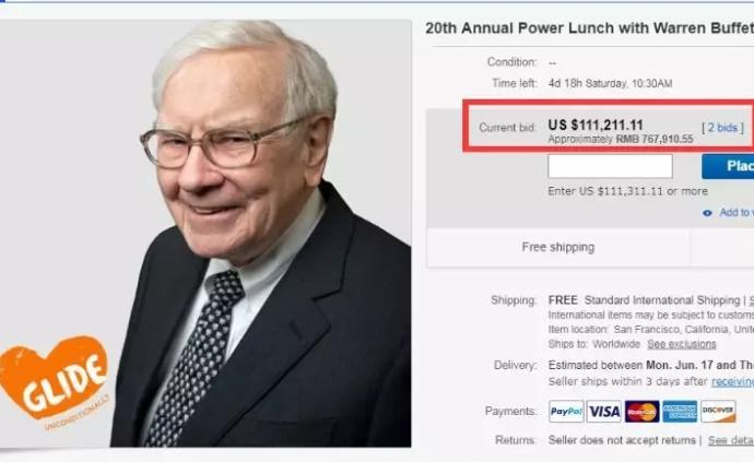巴菲特2019年慈善午餐開拍,目前出價已近77萬