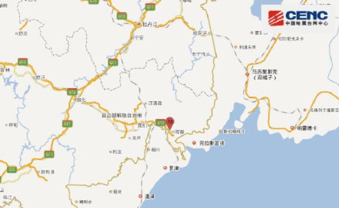 吉林延边州珲春市发生1.3级地震(疑爆)
