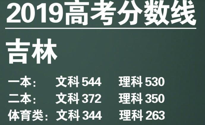 吉林高考分數線公布:文科一本544分,理科一本530分