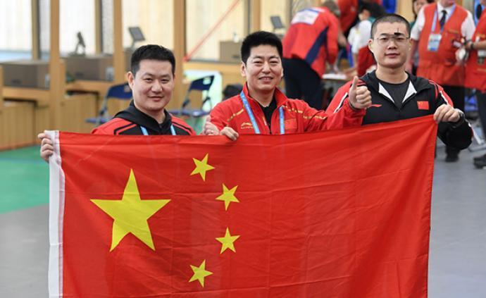中國斬獲軍運會首金!男子25米手槍軍事速射團體奪冠