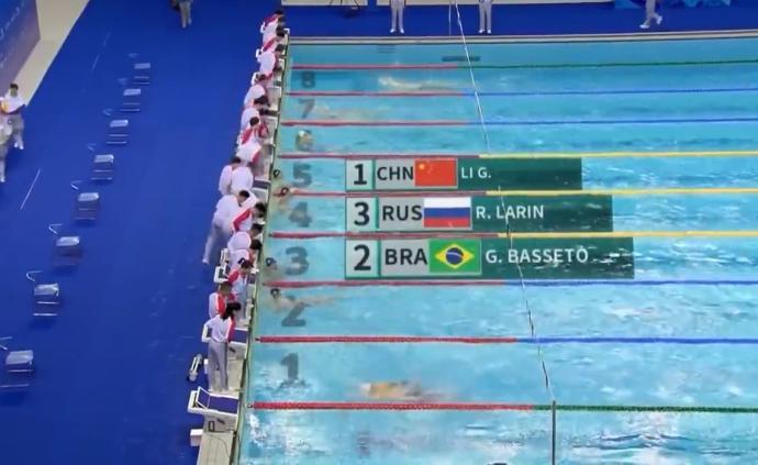 軍運會男子100米仰泳決賽,李廣源破賽會紀錄奪金