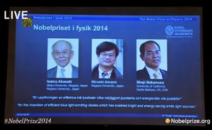 发明高亮度蓝色发光二极管,三位日本学者分享诺奖