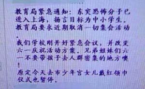 """上海教委辟谣:未发""""恐怖分子进上海目标为中小学生""""通知"""