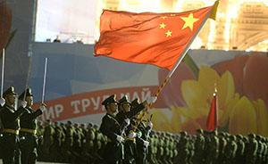 4月29日,俄罗斯首都莫斯科,俄罗斯士兵在红场参加彩排。CFP 图