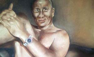 """乌克兰艺术家画普京全裸像,姿势很像""""腿枪照"""""""