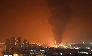 大连中石油输油主管道爆裂,火势凶猛