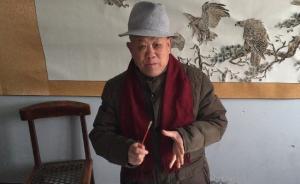 """山东76岁羽毛画艺术家义卖画作捐助遇困境的""""打工爷爷"""""""