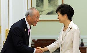 日韩关系转圜?朴槿惠上任以来首次正式会见日本政要