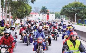 节后摩托大军猛增:一天内7000辆摩托车过境贺州返回广东
