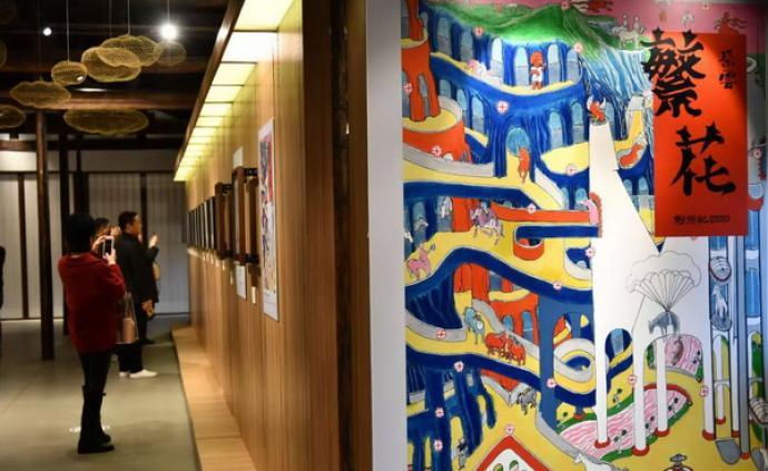 《朵云·繁花》四店联展,作家金宇澄个人版画展鼠年新春开幕