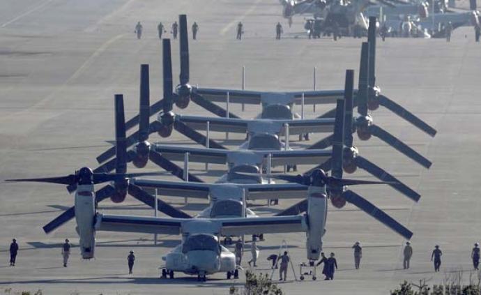 """日美聯合訓練:將有4100人參加,投入""""魚鷹""""運輸機"""
