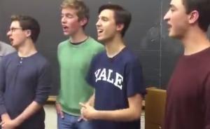 耶鲁大学男声清唱团成员唱《好汉歌》