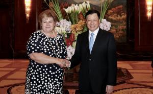应勇会见挪威首相:愿与挪威深化经贸航运文化教育等领域合作
