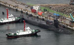 """据韩联社4月25日报道,美军战略核潜艇""""密歇根""""号今天上午驶入韩国釜山港。  本图集图片均来自 视觉中国"""