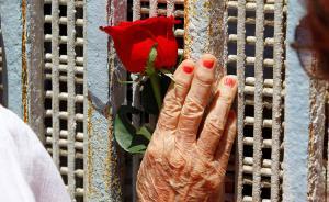 当地时间2017年5月13日,墨西哥提华纳,一名女子手持玫瑰在美墨边境纪念母亲节。视觉中国 图