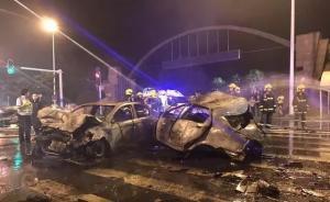 视频|武汉男子深夜醉驾撞上5辆小轿车,致2车燃烧2死4伤