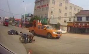汽车拐弯时数米外电动车摔倒,安徽广德交警:汽车司机担半责