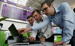 当地时间2017年6月27日,乌克兰鲍里斯皮尔,新一轮超强电脑病毒来袭,攻击性与勒索病毒相当。乌克兰首都最大机场中招系统全面瘫痪。视觉中国 图