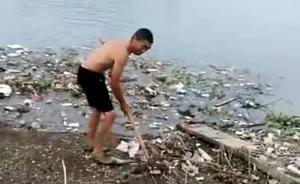 湖北赤壁一风景区内保洁员为省力把垃圾扒入湖,管委会将严处